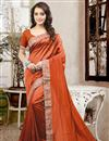 image of Mesmerizing Orange Color Designer Silk Saree With Unstitched Silk Blouse