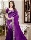 image of Graceful Purple Color Party Wear Designer Saree In Silk Fabric