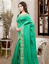 photo of Stylish Party Wear Silk Designer Saree In Green Color