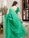 picture of Stylish Party Wear Silk Designer Saree In Green Color