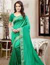 image of Stylish Party Wear Silk Designer Saree In Green Color