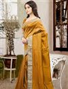 photo of Beautiful Orange Color Festive Wear Designer Silk Saree With Unstitched Silk Blouse