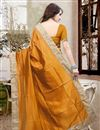 picture of Beautiful Orange Color Festive Wear Designer Silk Saree With Unstitched Silk Blouse