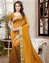 image of Beautiful Orange Color Festive Wear Designer Silk Saree With Unstitched Silk Blouse