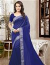 image of Elegant Blue Color Party Wear Saree In Silk Fabric