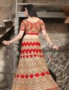 photo of Wedding Bridal Net Lehenga Choli In Red Color with Embroidery