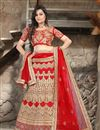 image of Red Color Bridal Wear Embroidered Lehenga Choli in Net Fabric