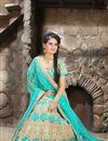 image of Turquoise Color Bridal Wear Embroidered Net Lehenga Choli