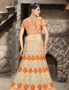photo of Bridal Wear Net Lehenga Choli with Embroidery in Orange Color