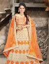 image of Bridal Wear Net Lehenga Choli with Embroidery in Orange Color