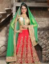 image of Pink Color Bridal Wear Embroidered Lehenga Choli in Net Fabric