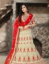 image of Beige Color Bridal Wear Embroidered Net Lehenga Choli