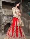 photo of Red Color Bridal Wear Embroidered Net Lehenga Choli