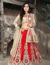 image of Red Color Bridal Wear Embroidered Net Lehenga Choli