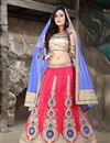 image of Pink Color Bridal Wear Net Lehenga Choli with Embroidery