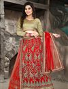 image of Wedding Bridal Net Lehenga Choli In Red Color with Embroidery