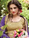 photo of Party Wear Half-Half Fancy Purple And Beige Color Net Saree