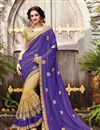 image of Party Wear Half-Half Fancy Purple And Beige Color Net Saree