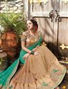 photo of Half-Half Party Wear Designer Green And Beige Color Net And Viscose Fancy Saree