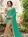image of Half-Half Party Wear Designer Green And Beige Color Net And Viscose Fancy Saree