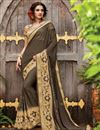 image of Designer Half-Half Party Wear Dark Grey Color Georgette Saree