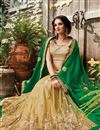 photo of Designer Half-Half Party Wear Green And Beige Color Net Saree