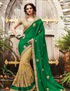 image of Designer Half-Half Party Wear Green And Beige Color Net Saree