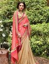 photo of Designer Fancy Peach And Beige Color Viscose And Banarasi Party Wear Half-Half Saree