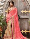image of Designer Fancy Peach And Beige Color Viscose And Banarasi Party Wear Half-Half Saree