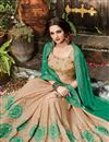 photo of Embroidered Half-Half Party Wear Fancy Green And Beige Color Silk And Chiffon Saree