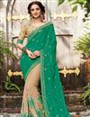 image of Embroidered Half-Half Party Wear Fancy Green And Beige Color Silk And Chiffon Saree