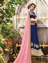 photo of Party Wear Half-Half Fancy Pink And Blue Color Georgette And Chiffon Saree