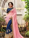 image of Party Wear Half-Half Fancy Pink And Blue Color Georgette And Chiffon Saree