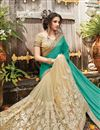 photo of Designer Half-Half Party Wear Green And Beige Color Net Saree