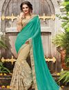 image of Party Wear Half-Half Fancy Green And Beige Color Net Saree