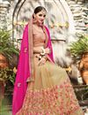 photo of Designer Half-Half Party Wear Pink And Beige Color Chiffon And Net Saree