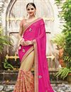 image of Designer Half-Half Party Wear Pink And Beige Color Chiffon And Net Saree