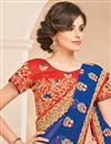 photo of Embroidered Designer Fancy Blue Color Chiffon Saree