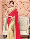 image of Party Wear Red And Cream Color Chiffon Designer Fancy Embroidered Saree