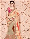 image of Party Wear Fancy Cream Color Silk And Viscose Designer Embroidered Saree