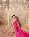 photo of Designer Function Wear Pink And Beige Color Chiffon Fancy Embroidered Saree