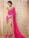 image of Designer Function Wear Pink And Beige Color Chiffon Fancy Embroidered Saree