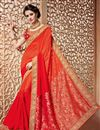 image of Designer Embroidered Festive Wear Red And Orange Color Silk Saree