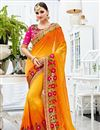 image of Designer Fancy Yellow Color Chiffon Embroidered Party Wear Saree