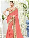 image of Party Wear Peach Color Chiffon Fancy Embellished Festive Wear Saree