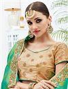 photo of Designer Silk Green And Cream Color Festive Wear Fancy Saree