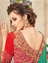 photo of Festive Wear Designer Green Color Georgette Embroidered Saree With Lace Border