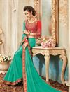 picture of Festive Wear Designer Green Color Georgette Embroidered Saree With Lace Border