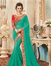image of Festive Wear Designer Green Color Georgette Embroidered Saree With Lace Border