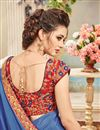 photo of Festive Wear Designer Blue Color Chiffon Embroidered Saree With Lace Border